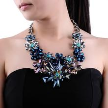 Flowers Crystals Flower Pendant Gold Chain Women Big Necklace Statement Necklace Female Jewelry Blue/Black Fashion 2019