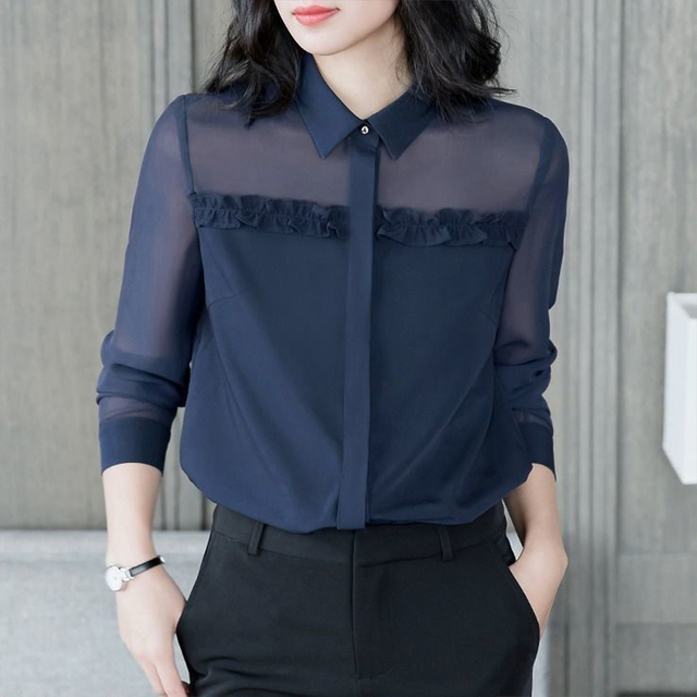 Women's Spring Autumn Style Blouse Shirt Women's Button Turn-Down Collar Solid Color Long Sleeve Korean Elegant Tops SP1099 1