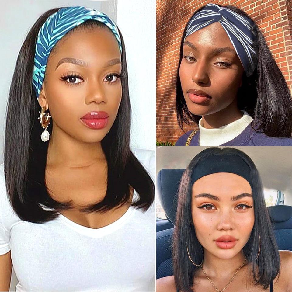 18 дюймов повязка на голову Боба парик человеческих волос парики для чернокожих женщин прямо бразильский машина сделала Реми Натуральный Цв...