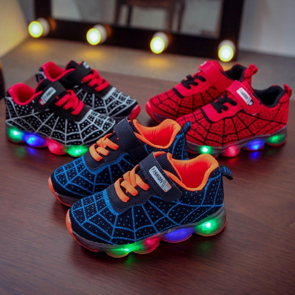 Toddler Boy Sneakers Children Kids Baby Girls Boys Cartoon Led Light Luminous Sport Sneakers Shoes 2020 Hot Sales 18M-12Y