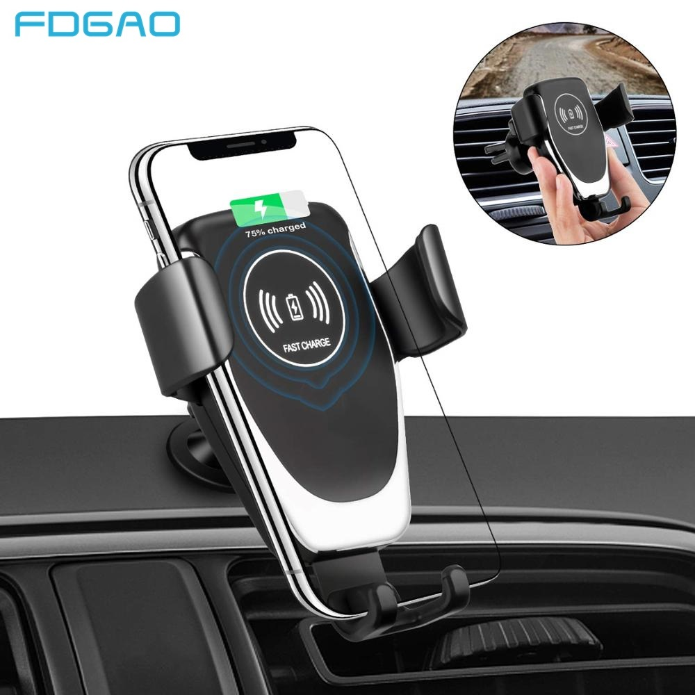 FDGAO Wireless Car Charger Gravity Stand For Samsung S10 S10e Note 10 9 10W Fast Charging Holder For IPhone 11 X XS MAX XR 8
