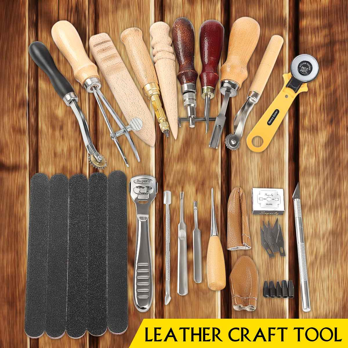 Tools : 60Pcs Professional Leather Craft Tools Kit for Hand Sewing Stitching Working Wheels Stamping Punch Tools Set