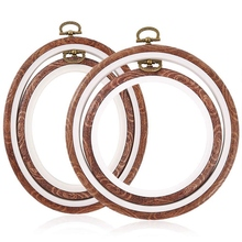 4 Pieces Embroidery Hoops Cross Stitch Hoop Imitate Wood Emb