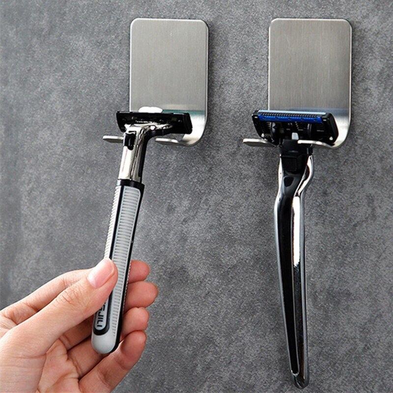 1PC Stainless Steel Razor Holder Men Shaving Shaver Razor Stand Shelf Shaving Razor Storage Rack Bathroom Hook Organizer