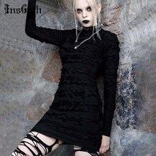 InsGoth-robe noire tendance Harajuku, Mini robe gothique ajourée, Sexy, Punk, Streetwear, rétro moulante, manches longues, taille haute