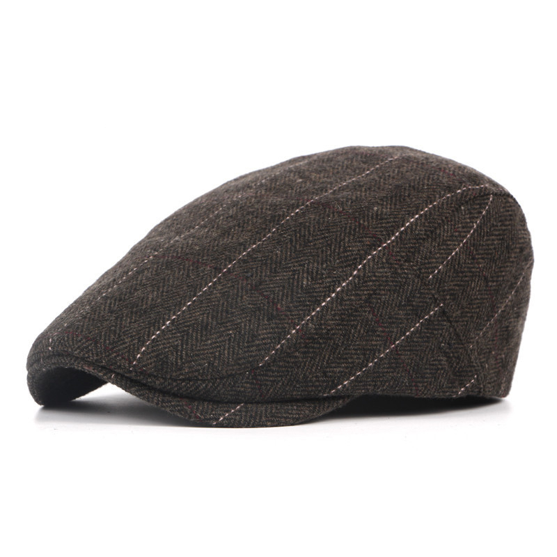 Winter Hat Striped Beret Plaid Classic Woolen British-Style Autumn Middle Men's Old-Aged-Cap