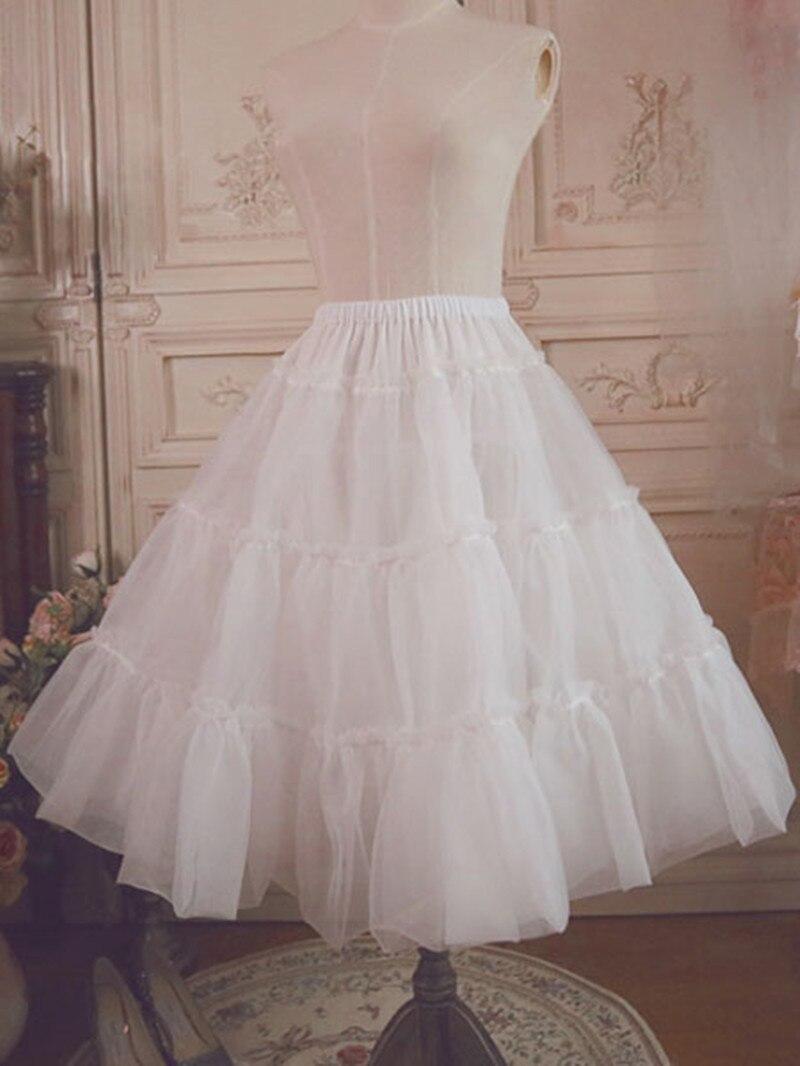 Lolita Petticoat Ruffled  Voile Pleated Lolita Underskirt Layered White /Black Skirt