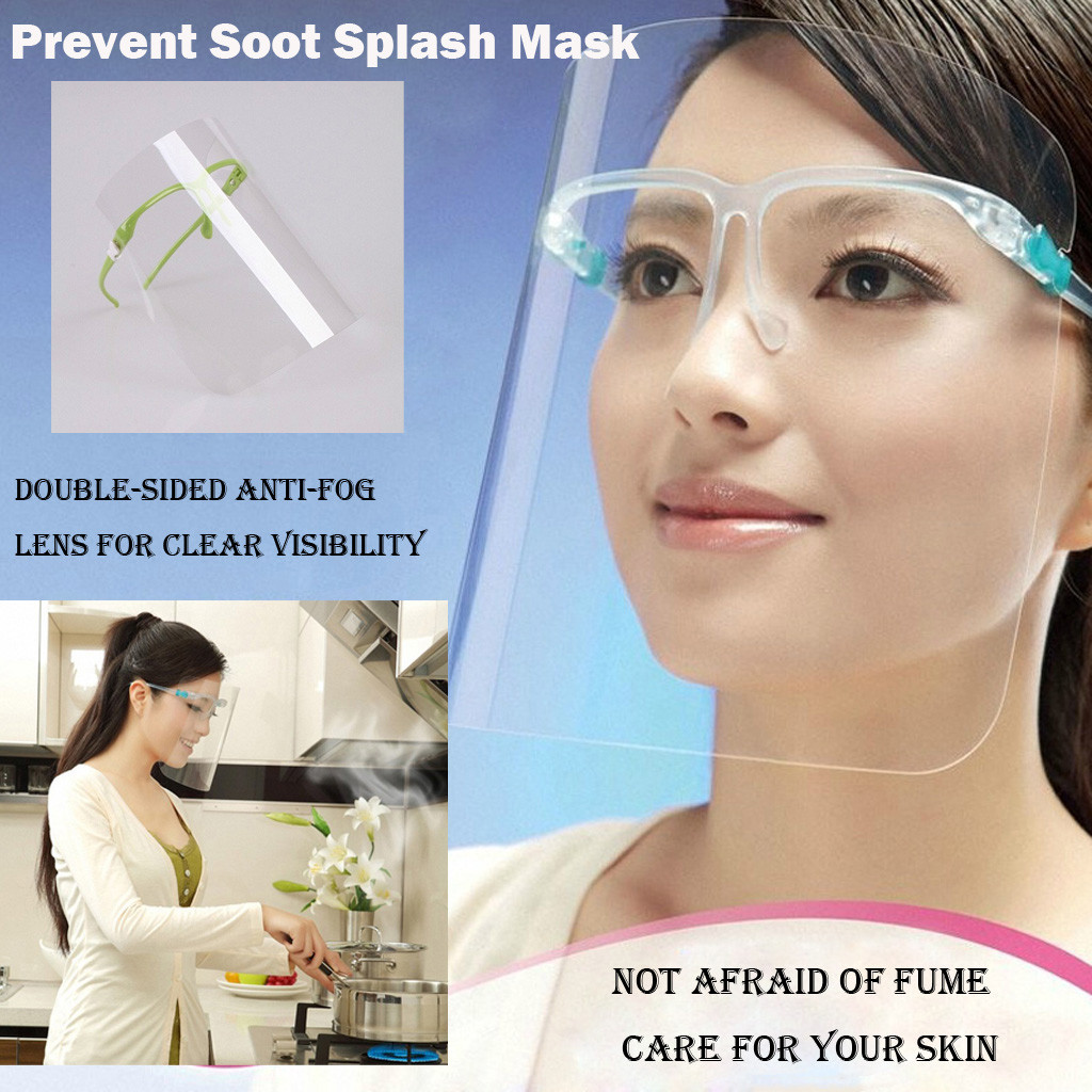 Kitchen Oil Proof Mask Women Face Protective Shiel Cooking Work Safety Soot Resiastnce Transparent Mask Cooking Tools  10H
