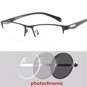 Image 3 - Soleil photochromique myopie lunettes hommes fini caméléon lentille Prescription lunettes demi métal cadre 0.5  0.75  1.0  2 à 6