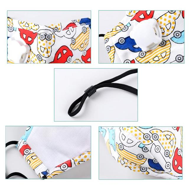 3pcs/set Kids Cartoon Printing Mouth Masks Dustproof Washable PM2.5 Filter Mask Mouth Cover With Filter Pad Clothing Accessories 5