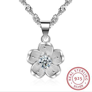100% 925 Sterling Silver Shiny Crystal Cherry Blossoms Flower Fashion Ladies`pendant Necklaces Women Short Box Chain Wedding image