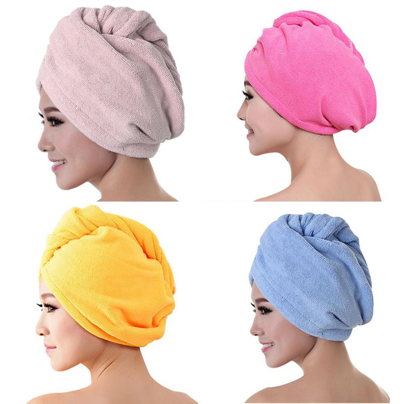 Drying Hat Quick-dry Hair Towel Cap Hat Bath Hat Microfiber Solid Towel Cap Super Absorption Turban Hair Dry Cap freeshipping