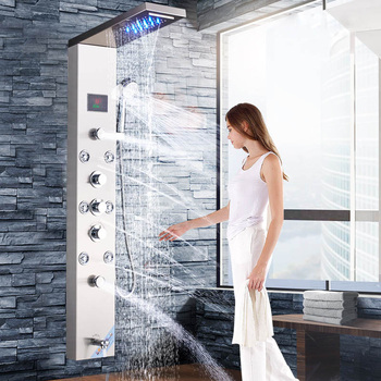 Brushed Nickle ORB Bathroom Luxury Rain Waterfall Mixer Shower Shower Panel LED Light Massage Jet Brass Tub Spout Shower Column 17