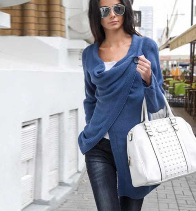 Sıcak satış avrupa ve amerika düzensiz kadın hırka kazak kazak ceket