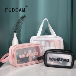 FUDEAM Solid Soft PU Women Travel Storage Bag Waterproof Toiletries Organize Cosmetic Bag Portable Storage PVC Make Up Bags
