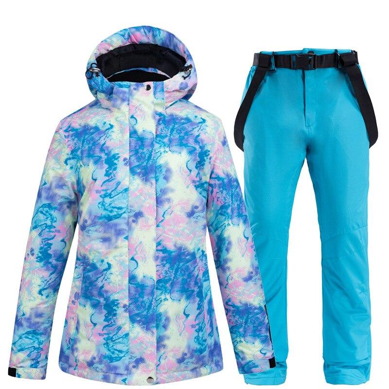 Женский утепленный лыжный костюм, комплект из водонепроницаемой ветрозащитной куртки и брюк для катания на лыжах и сноуборде, уличная одеж...
