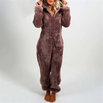 Women Winter Clothing, Cute Plush Solid-Color Hooded Long-Sleeves Zipper One-Piece Pajama with Bear Ears for Girls