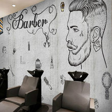 Custom Beauty Hair Salon Wall Paper 3D Barber Shop Gray Cement Wall Background Wallpaper Barbershop Hair Cut Papel De Parede 3D(China)