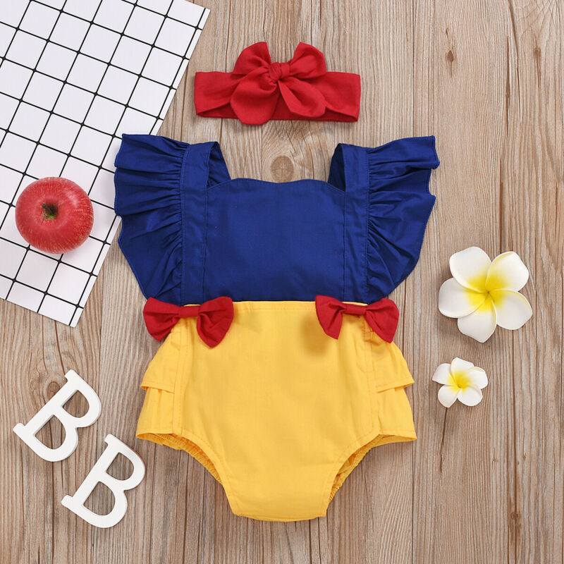 Newborn Baby Girl Clothes Baby Girls Cotton Patchwork Ruffled Sleeve Romper Jumpsuit + Bow Headband Backless Summer Outfit Set