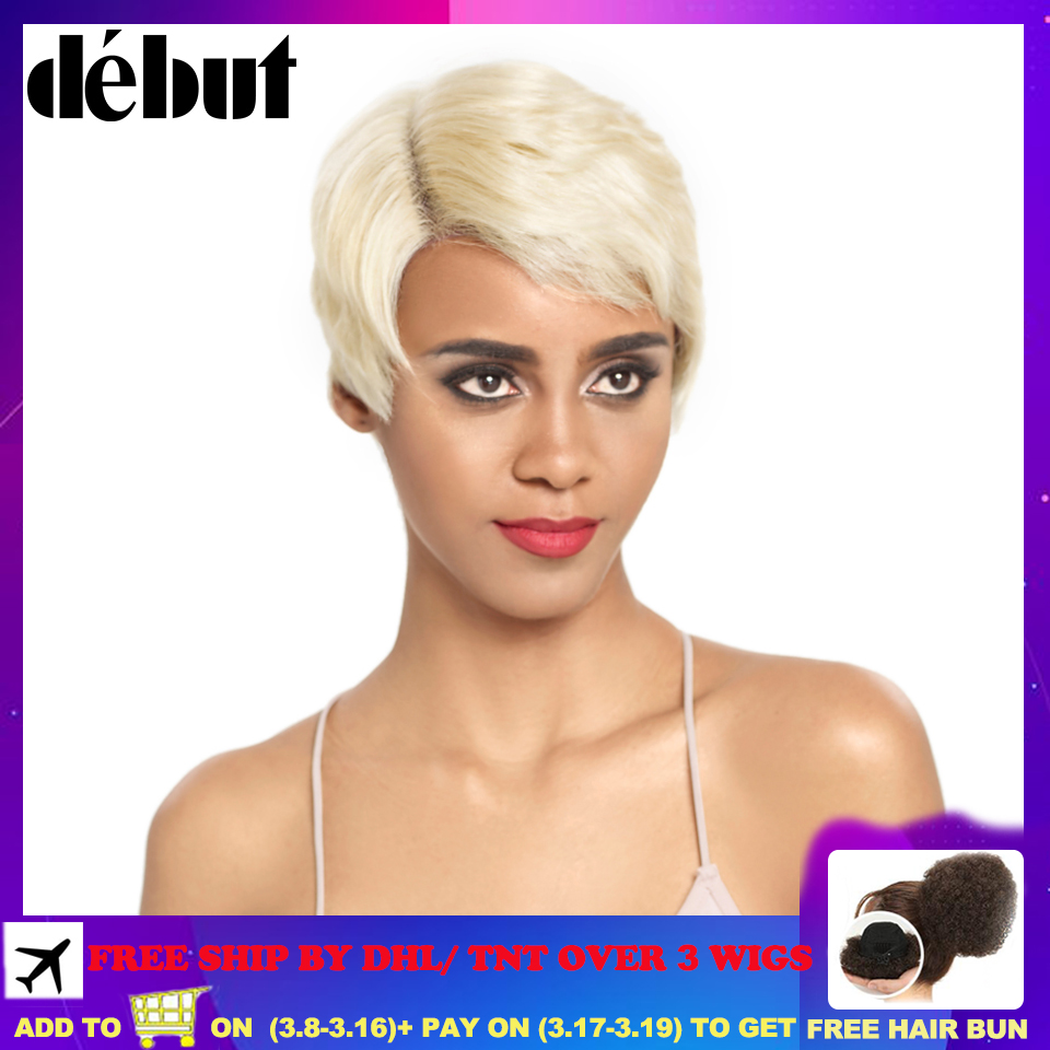 Debut Lace Front Human Hair Wigs Short 613 Blonde Lace Front Wig 100% Remy Human Hair Wigs U Part Lace Part Human Hair Wigs Free
