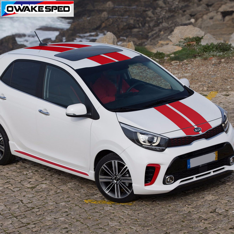 1 Set Racing Sport Stripes Car Hood Roof Tail Sticker For KIA Picanto Morning Auto Body Whole Vinyl Decals Exterior Accessories