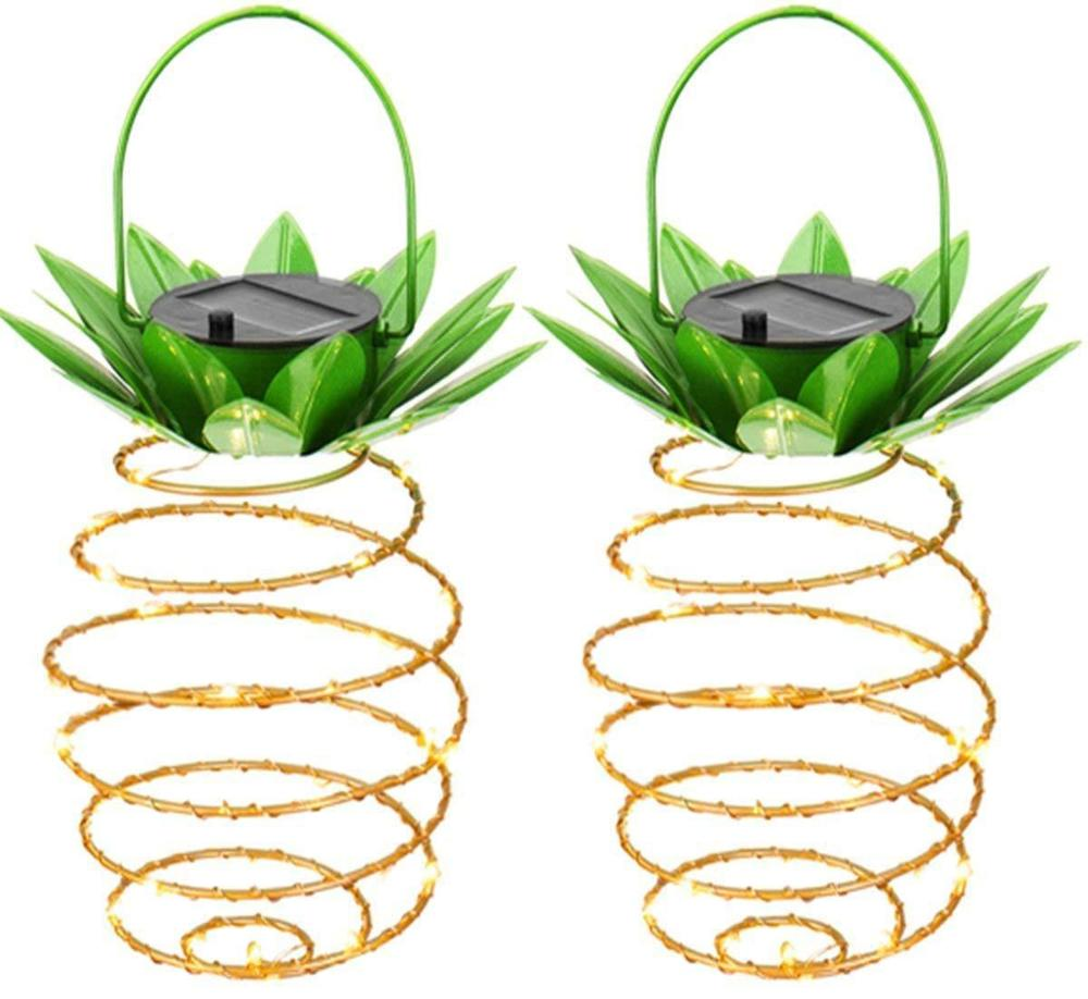 Outdoor Waterproof Garden 25Led Pineapple Solar Lights Path Lights Hanging Fairy Lights Warm Copper Wire Solar String Lights