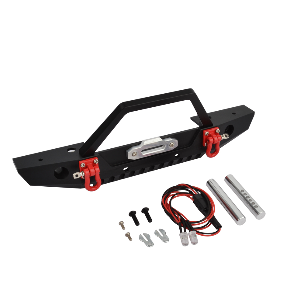 RCAIDONG RC Car Metal Front Bumper with Led Lights for Axial SCX10 & II 90046 90047 Traxxas TRX4 1/10 Rock Crawler