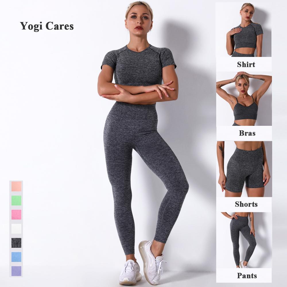 2020 mulheres conjunto de yoga ginásio roupas sem costura leggings cintura alta calças de treino feminino sutiãs de fitness manga curta topo