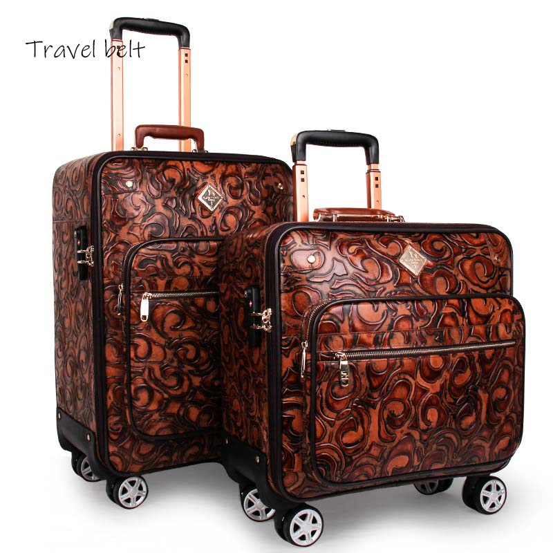 Travel Belt New Retro Genuine leather Rolling Luggage Spinner Travel Bag cowhide Suitcase Wheels Password Trolley