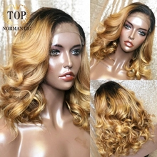 Topnormantic 13x6 레이스 프런트 인간의 머리가 발 옹 브르 금발 머리 가발 아기 머리 브라질 레미 인간의 머리 표백 매듭