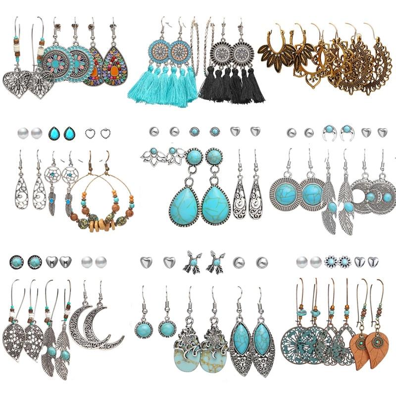 17KM Vintage Green Stone Earrings Set For Women Boho Ethnic Tassel Moon Dangle Earring Bohemian Silver Color Earrings Jewelry