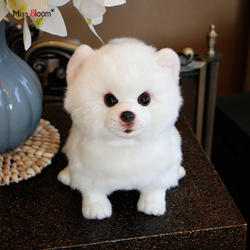 Plush Pomeranian Dog Doll Simulation Dog Stuffed Animal Toys Super Realistic Dog Toy For Pet Lovers Luxury Home Decor Snow White