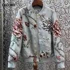 2019 herbst Mode Jacke Hohe Qualität Frauen Hand Made Perlen Vintage Jacquard Blume Drucken Langarm Casual Blau Jacke