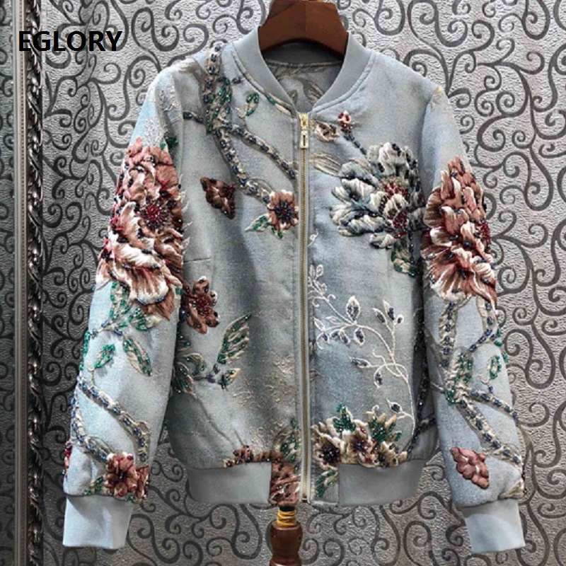 2019 Осенняя модная женская куртка высокого качества, ручная работа, вышивка бисером, винтажный жаккардовый цветочный принт, длинный рукав, Повседневная Синяя Куртка
