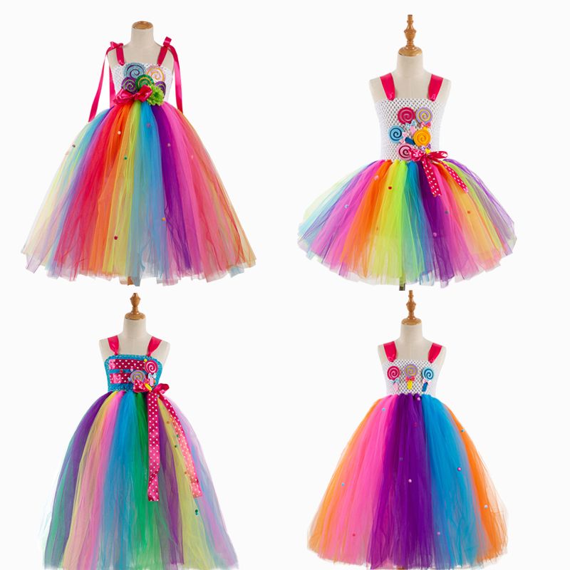 Fancy Rainbow Candy Costume Cosplay For Girls Halloween Costume For Kids Carnival Party Suit Dress Up