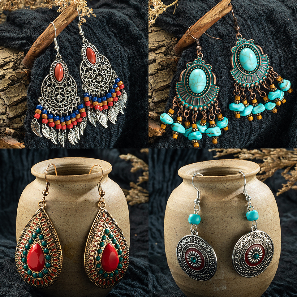 fashion earrings 2019 gold indian jewelry vintage Ethnic boho tassel long Drop Earrings for Women bride girl jewelry accessories