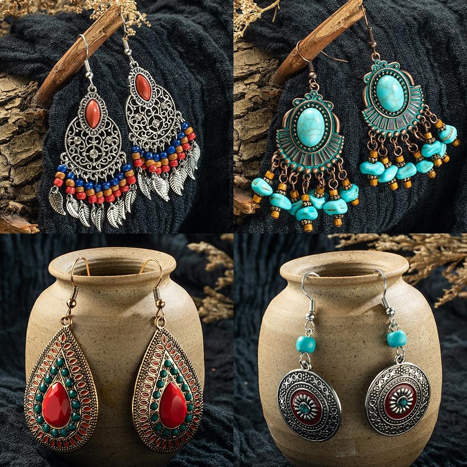 fashion earrings 2019 gold indian jewelry vintage Ethnic boho tassel long Drop Earrings for Women bride girl jewelry accessories