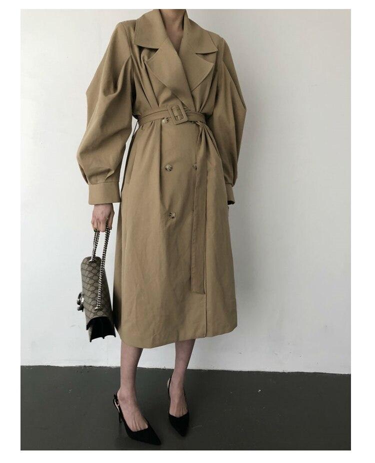 Windbreaker Women Trench Coat Belt Waist 19 Autumn Double Breated Oversize Long Coat Lady Streetwear Korean Outwear 5