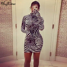 Hugcitar 2020 Long Sleeve With Gloves Zebra Print Bodycon Mini Dress Autumn Winter Women Fashion Party Outfits