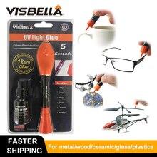 VISBELLA 5 Second Fix UV LightปากกากาวSuper Poweredพลาสติกกาวสำหรับโลหะไม้เซรามิคซ่อมกระจกมือชุดเครื่องมือ