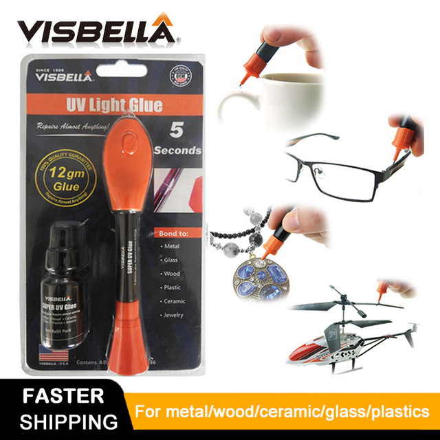 Visbella 12g paquete grande con 8g de relleno Líquido botella De Plástico De Soldadura Luz UV Pegamento pegamento 5 Segundo Fijar sellar rápidamente y reparar