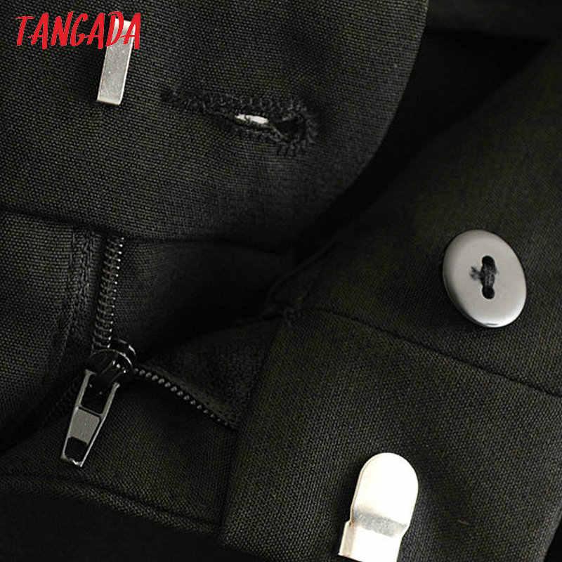 Tangada black suit pants woman high waist pants sashes pockets office ladies pants fashion middle aged pink yellow pants 6A22