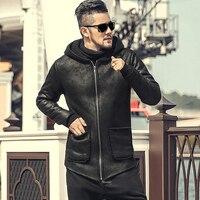 Newest British Men's Jacket Winter Hooded Fur Coat Black Jacket Men Biker Motorcycle LeatherJacket F8213