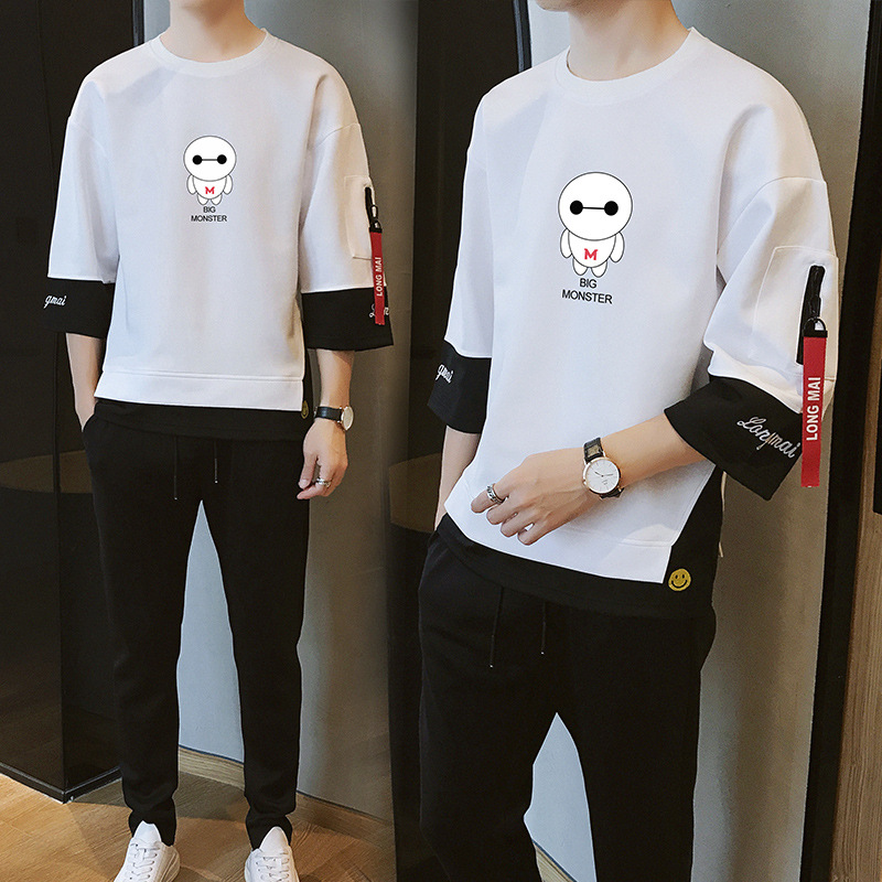 New Style Spring And Autumn Men Outdoor Sports Set Mock Two-Piece Japanese-style Three-quarter-length Sleeve Fashion Department
