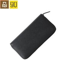 高品質 youpin 90Fun メンズビジネス財布カードホルダー財布古典的な長財布牛革革の黒のジッパーアンチスクラッチ