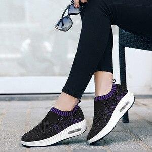 Image 5 - COWCOM letnie buty damskie powierzchnia mucha tkactwo oddychające sportowe buty na co dzień Waddling poduszka ciasto pojedyncze buty CYL 3902