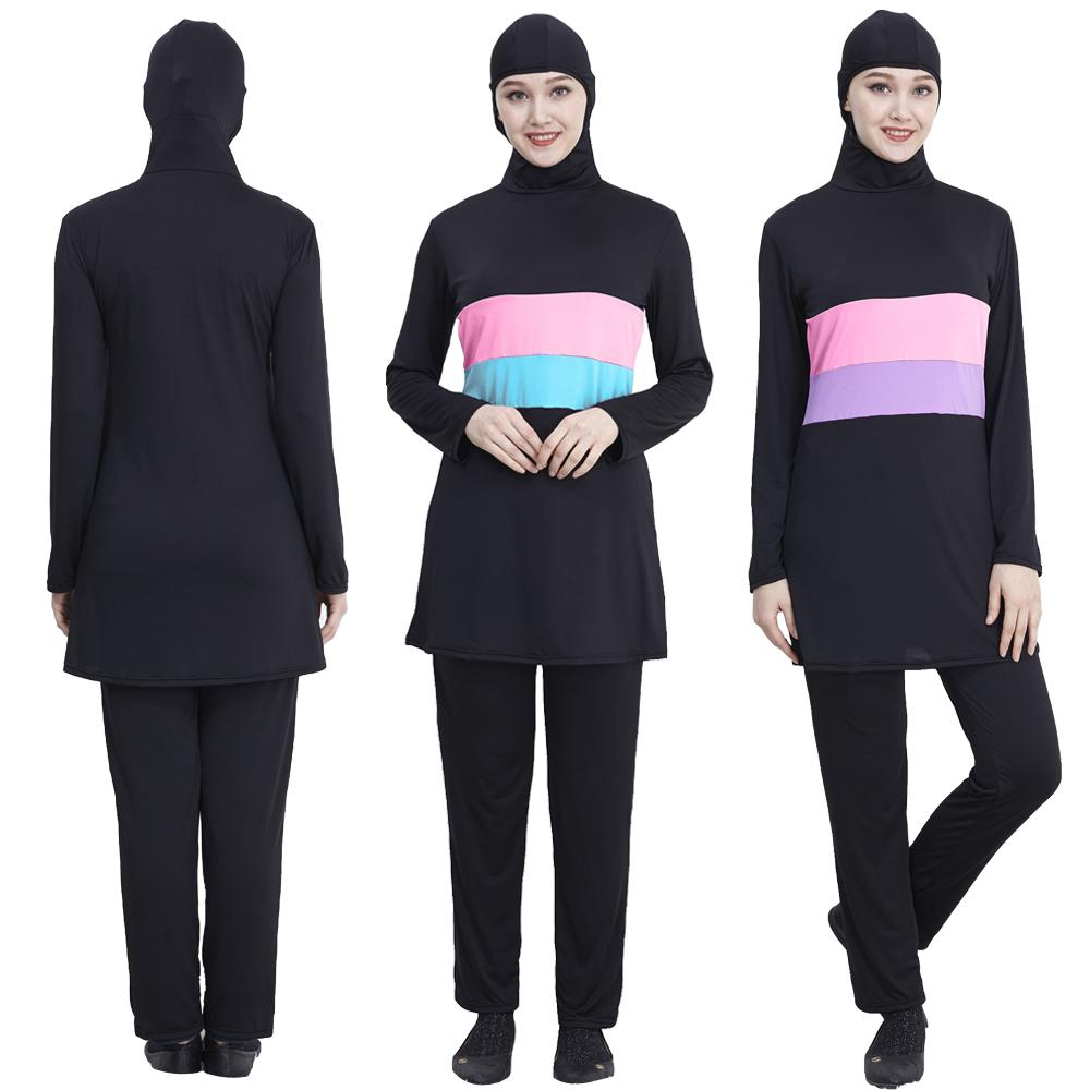 Muslim Swimwear Modest Swimsuit Tops+Pant Swimming Islamic Burkini Costume Set