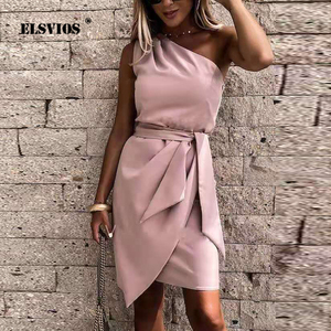 Spring 2021 Women Elegant Party Dresses Summer Dress New Ladies Solid Color Sleeveless Slanted Shoulder Irregular Tie Dress 3XL