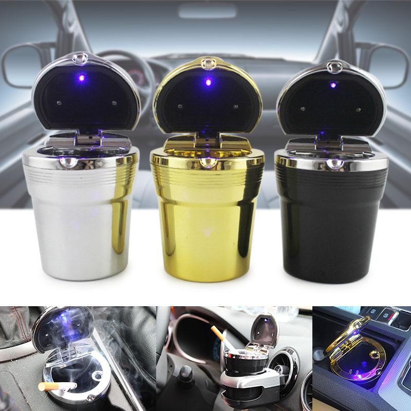 Wholesale Travel Portable Auto Car LED Light Cigarette Ashtray Smokeless Cylinder Holder V6
