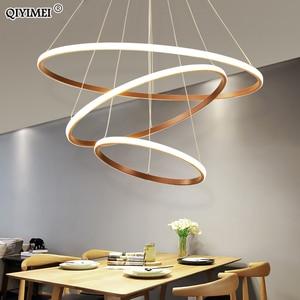 Image 5 - الحديثة قلادة LED أضواء شنق مصباح غرفة المعيشة بهو الأبيض القهوة الأسود الخارجية الإضاءة حلقة الإضاءة Luminaria Abajur دي